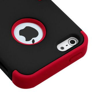 Apple iPhone 5 Hard Hybrid Case Snap On Cover Black / Red Silicone
