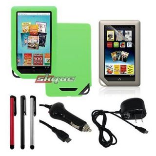 Green Skin Case+Film+Stylus Pen+Wall+Car Charger for Nook Color/Tablet