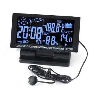 LCD Digital Clock Car Thermometer Hygrometer voltage calendar Weather