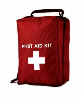 EMPTY FIRST AID KIT BAG WITH COMPARTMENTS   LARGE   RED