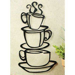 Metal stacked COFFEE cups kitchen wall decor