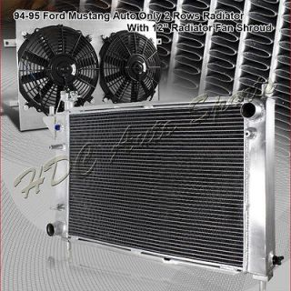 94 95 FORD MUSTANG AUTO 3 ROW CORE RACING ALUMINUM COOLING RADIATOR