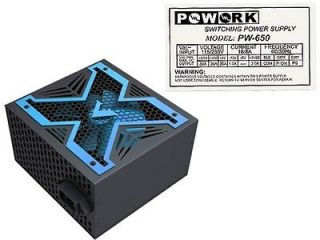 PoWork Silent 650W Max ATX Power Supply w/12cm Fan, 20/24 Pin, SATA