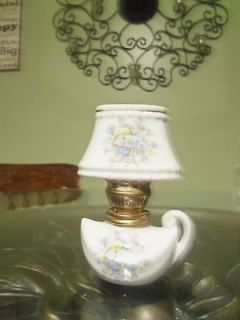 vintage oil lamp porcelain with lamp shade odd base painted floral
