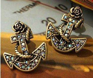 Multicolor Crystal Antique Bronze Anchor Shaped European Earrings