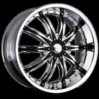 20 22 24 26 VCT Abruzzi Chrome Black Wheels Chevy Impala Caprice