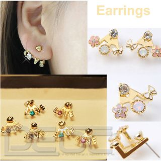 Gold Plated Clear Rhinestone Heart Love Letter Ear Stud Flower Earring