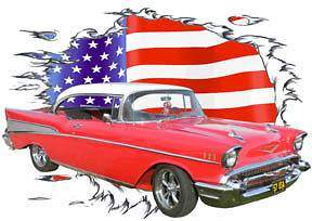 Red Chevy Bel Air e Custom Hot Rod USAT T Shirt 57, Muscle Car Tees
