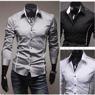 Brand New Mens Luxury Casual Slim Fit Stylish Dress Shirts Top 3