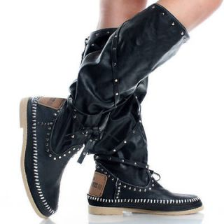 Black Studded Moccasin Rockabilly Western Womens Flat Knee High Boots