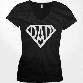 Superdad Superman Happy Fathers Day Paternal Love Girls VNeck shirt