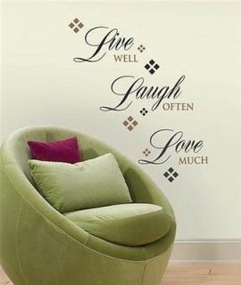 LAUGH LOVE Words Wall Stickers Quote Vinyl Applique Decals Room Decor