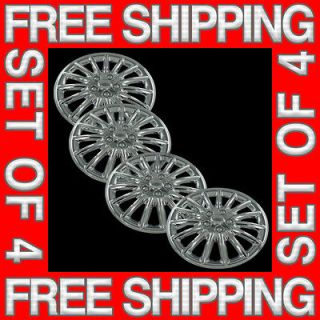 Set of 4 New 16 Chrome Hubcaps Center Hub Caps Wheel Rim Covers Free