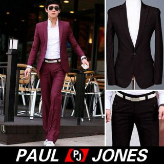 Korea Mens Fashion Stylish Slim Fit One Button Suit