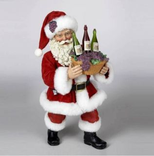 2012 KURT ADLER FABRICHE *Loaded With Cheer* SANTA W/BASKET OF WINE