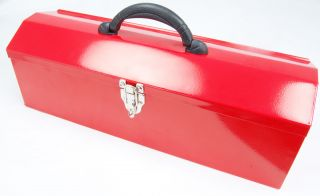 Grandpas Classic Red Metal Tool Box   19 Long with Removable Tray