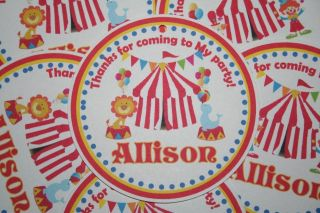12   Personalized Carnival Circus Big Top Theme Birthday Favor Tags