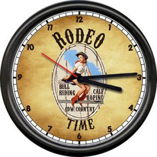 Horse Barrel Racing Sign Gift Poster Western Decor Farm Wall Clock