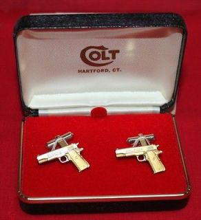 COLT Firearms Factory 1911 70 series cuff links Gold Plate Mint