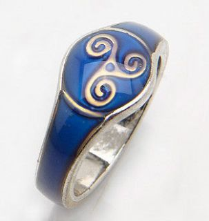CELTIC IRISH MOOD COLOR CHANGE RING+CHART SILVER TONE LADY WOMENS US