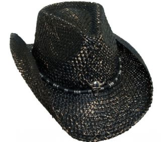 BRETT MICHAELS BLACK WESTERN COWBOY HAT SKULL CONCH MUSICIANS ROCK IT