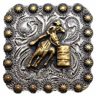 Western Antiqued Silver/Gold Barrel Racer 1 Concho