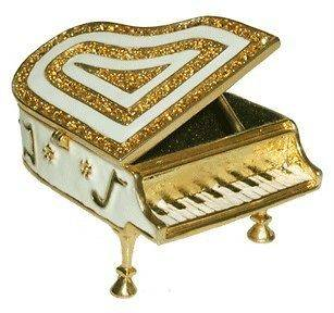 Piano Jewelry Trinket Box Swarovski Crystals #1133