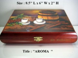 Humidor Cigar Box w/artwork . Cuban Art handmade signed by artist
