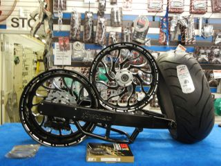 BLACK 240 COMPLETE FAT TIRE KIT, 240 CONTAST CUT HELLIAN WHEELS 99 07