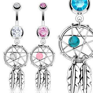 Woven Star w/ Bead Feathers Gem Belly Ring Navel Clear,Pink,Aqu​a