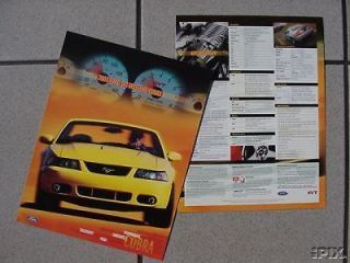 SVT Cobra Mustang Dealer Card/Data Sheet NEW, Rare