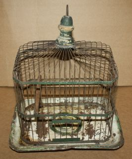 Vintage Metal Hanging Hendryx Bird Cage Rustic Green/White color