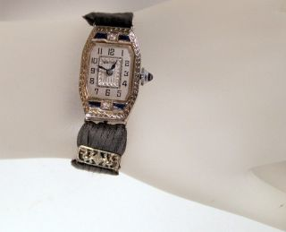 Antique Art Deco Bulova Ladies 14K White Gold Diamond Sapphire Watch