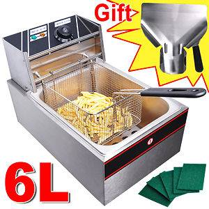 Electric Countertop Deep Fryer Tank Basket Commercial Restaurant 2500W
