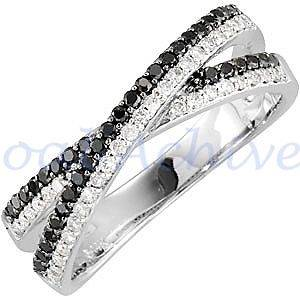 Black and White Diamond Double Band Criss Cross Ring 10K DGL Certified