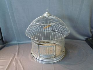 Hendryx Hanging Chrome BIRD CAGE w Wood Swing & Space For Feeders