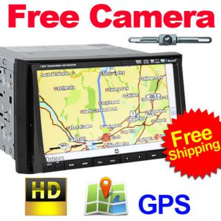 HD 7 Inch Double Din Car Stereo DVD Player GPS Nav+CAM+Bluetooth Ipod
