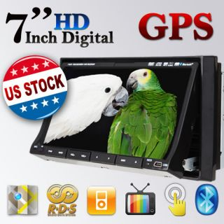 Double Din Car DVD Player 7 Touch Screen GPS Navi Map Card Stereo