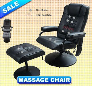 New Black PU TV Massage Chair Recliner With Ottoman Remote Control