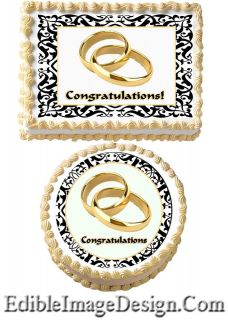 ANNIVERSARY Damask Ring Edible Party Cake Image Cupcake Topper Favor