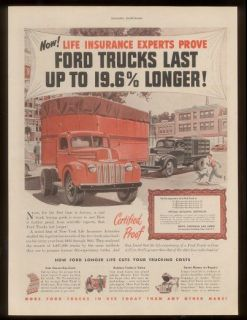 1947 Ford semi truck & stake bed pickup vintage ad