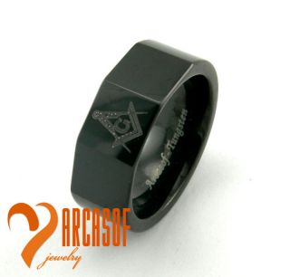 BLACK TUNGSTEN CARBIDE FREEMASON MASONIC RING 8 9 10 12