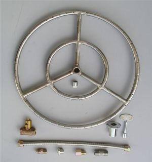 SS FIREPIT BURNER RING KIT Fireplace Fire Glass Gas Logs Lava Rocks