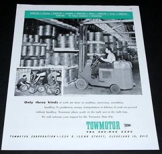 1945 OLD WWII MAGAZINE PRINT AD, TOWMOTOR FORK LIFT, A ONE MAN GANG
