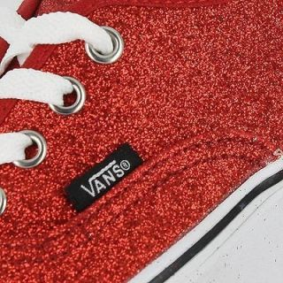 VANS CLASSIC AUTHENTIC GLITTER RED WOMENS US SIZE 7, MENS 5.5