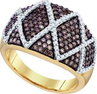 GOLD RING 1.01CT CHAMPAGNE & WHITE NATURAL DIAMOND SET IN CRISS CROSS