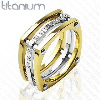 SOLID TITANIUM GOLD IP WEDDING CZ BAND MENS RING SZ 13