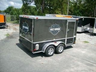 Enclosed Double Motorcycle Trailer 2013 w harley davidson stickers
