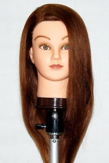 22 Cosmetology Mannequin Head 100% HUMAN Hair ** with clamp **