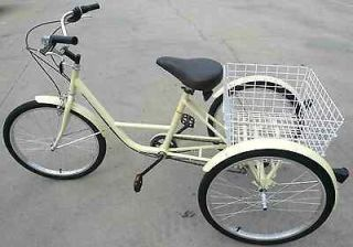 WHEEL ADULT 24 BIKE TRICYCLE BICYCLE 6 SPEED Ivory